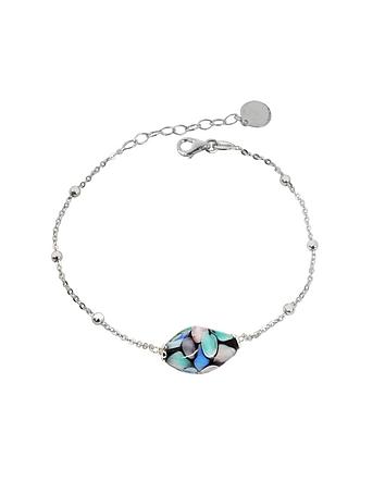 Smeralda Glass Beads Sterling Silver Bracelet