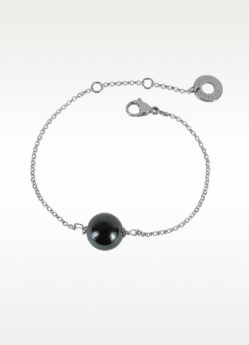 Perleadi Black Murano Glass Bead Chain Bracelet - Antica Murrina