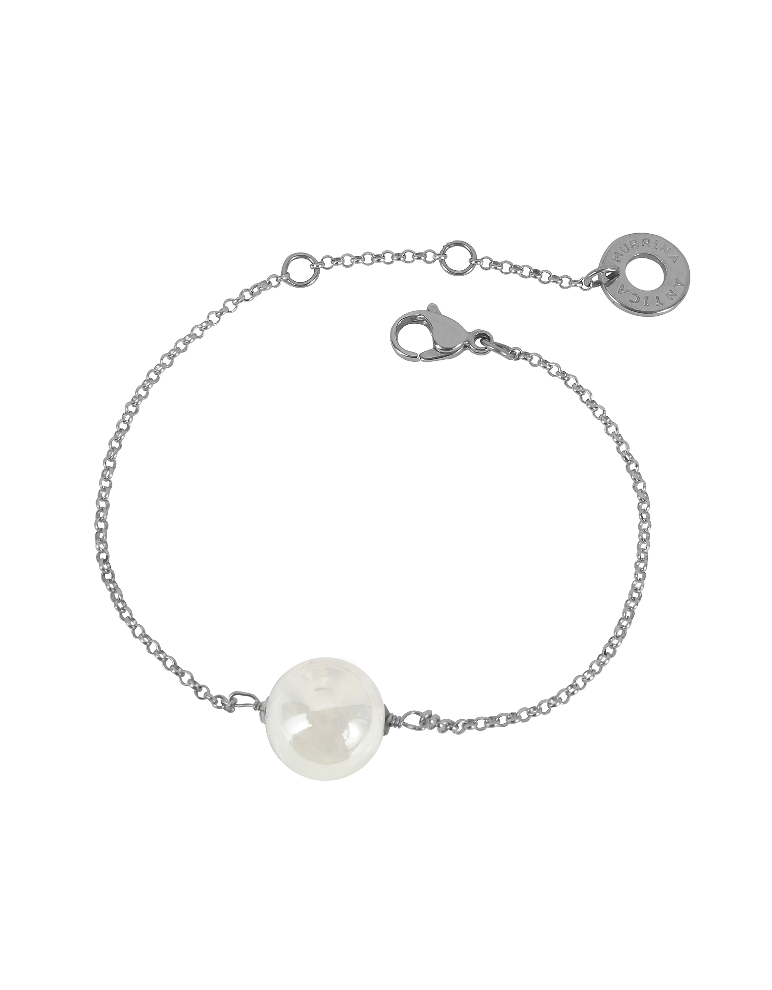 Antica Murrina Bracelets, Perleadi White Murano Glass Bead Chain Bracelet