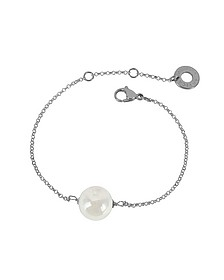 Perleadi White Murano Glass Bead Chain Bracelet - Antica Murrina