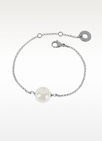 Perleadi White Murano Glass Bead Chain Bracelet - Antica Murrina