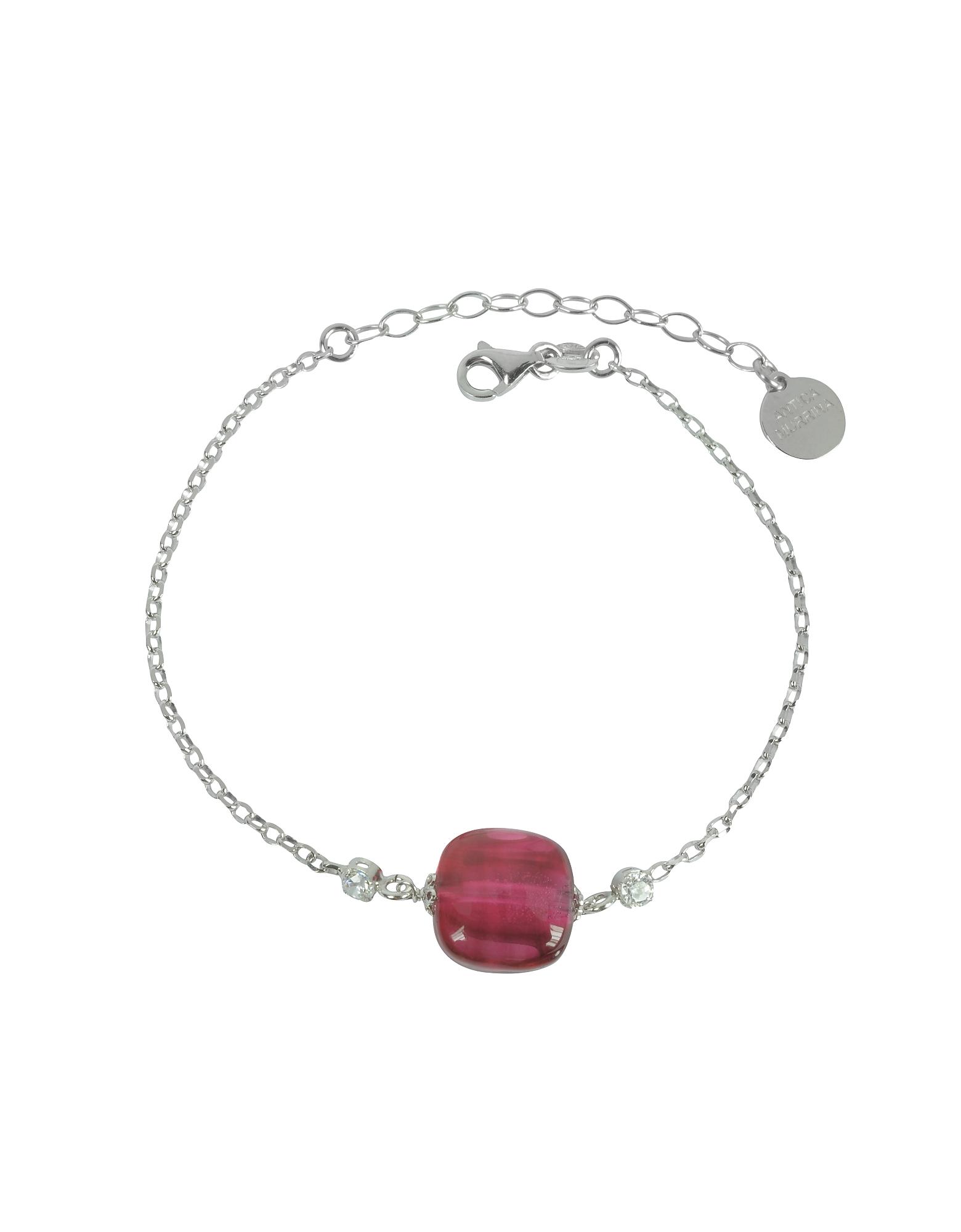 Florinda - Браслет из Стерлингового Серебра и Рубинового Стекла Мурано