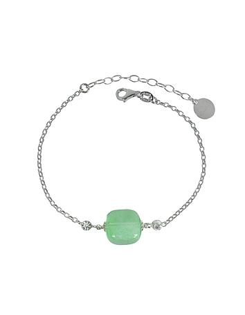 Florinda Green Murano Glass Sterling Silver Bracelet