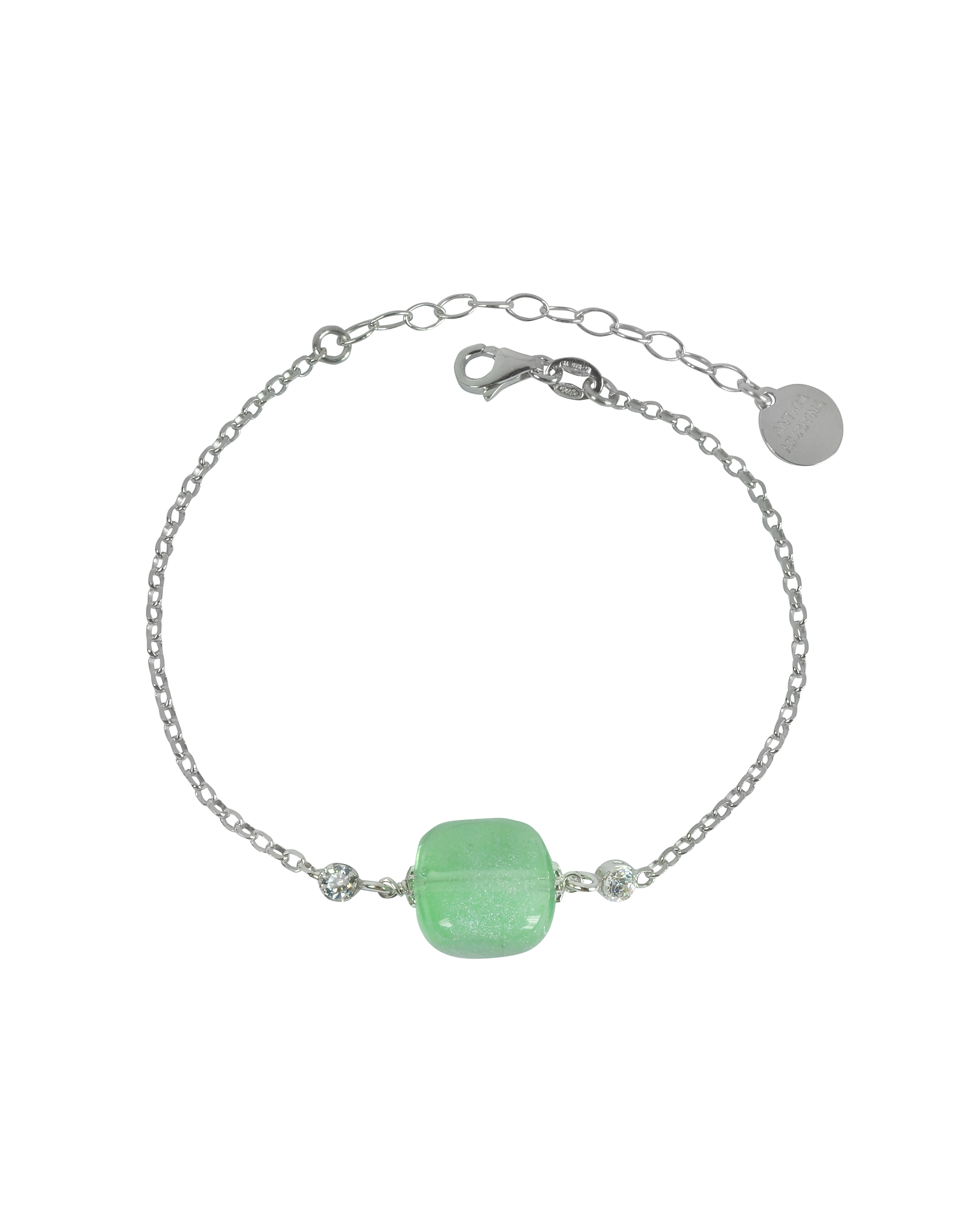 Antica Murrina Bracelets, Florinda Green Murano Glass Sterling Silver Bracelet