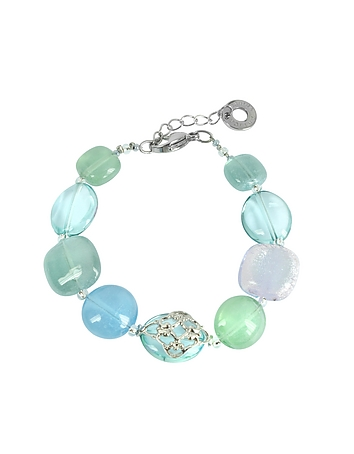 Antica Murrina - Florinda Top T Light Blue and Green Murano Glass Beads Bracelet