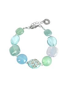 Florinda Top T Light Blue and Green Murano Glass Beads Bracelet - Antica Murrina