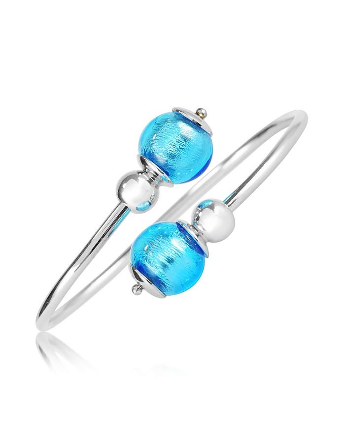Venere - Sterling Silver Bangle with Blue Murano Glass - Antica Murrina