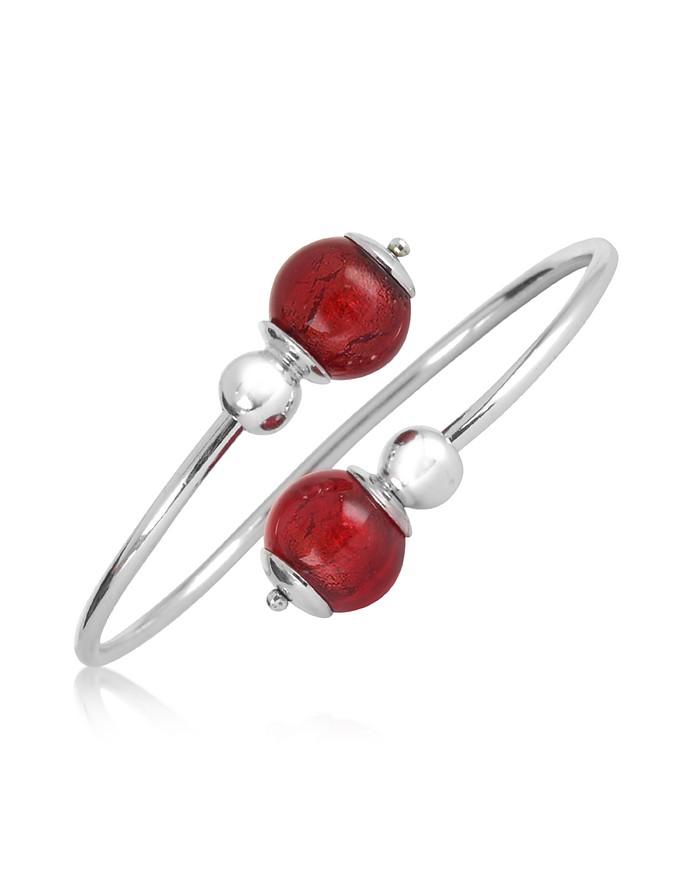 Venere - Red Murano Glass Sterling Silver Bangle - Antica Murrina