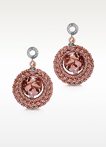 Avant Gard Pink Murano Glass Long Drop Earrings - Antica Murrina