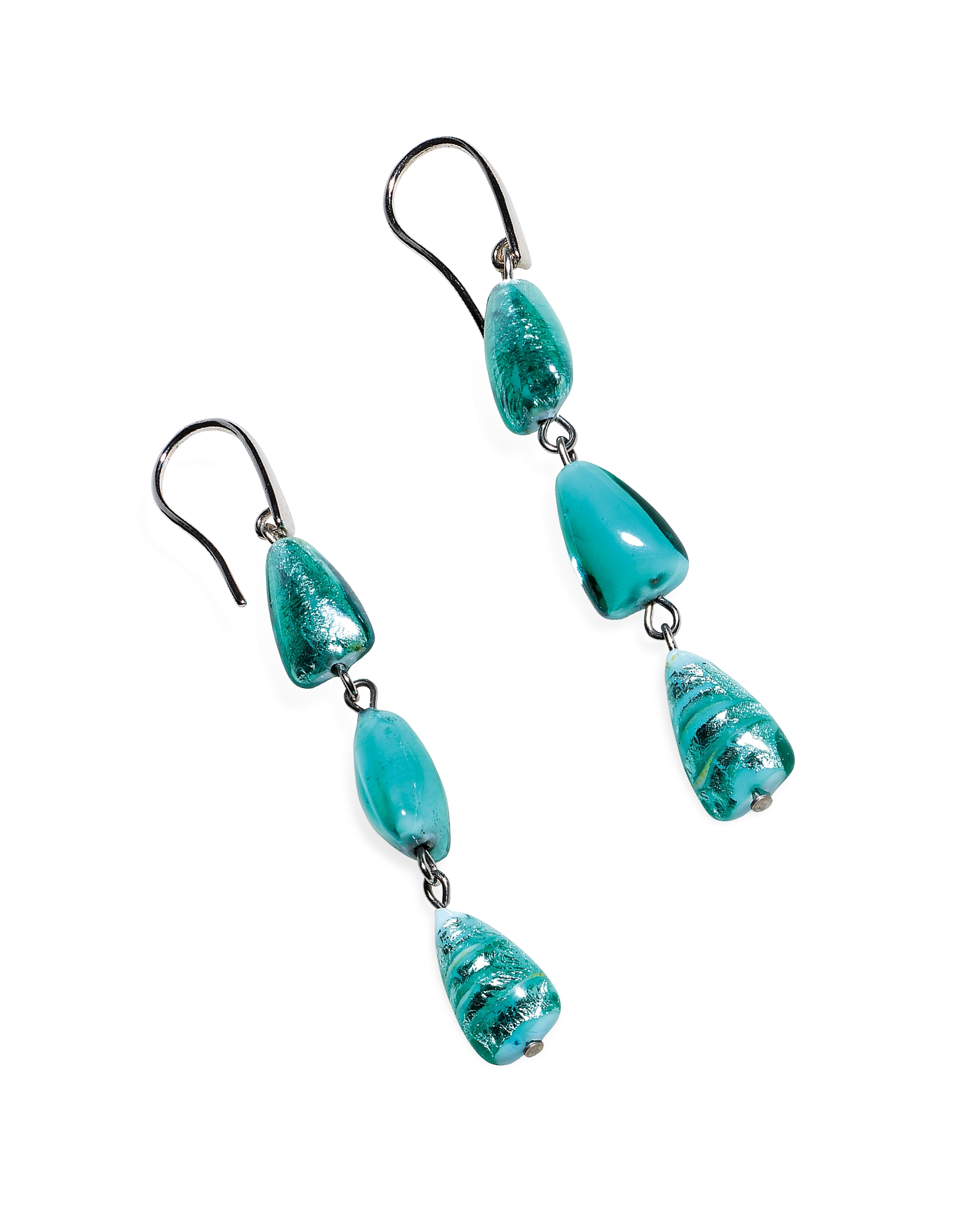 Marina 1 - Turquoise Green Murano Glass and Silver Leaf Dangling Earrings от Forzieri.com INT