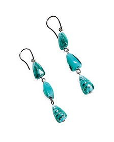 Marina 1 - Turquoise Green Murano Glass and Silver Leaf Dangling Earrings - Antica Murrina