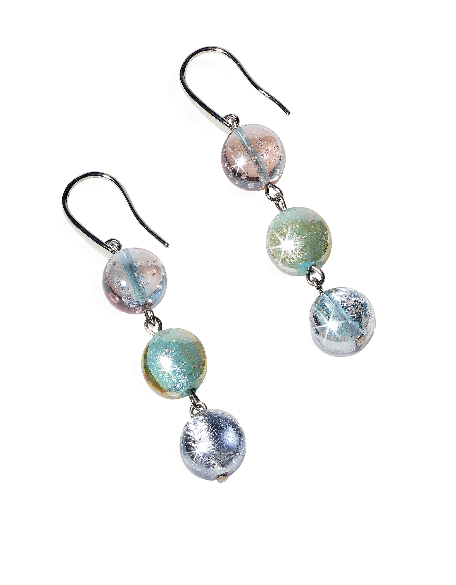 Redentore 1 - Pastel Pink and Green Murano Glass & Silver Leaf Dangling Earrings от Forzieri.com INT