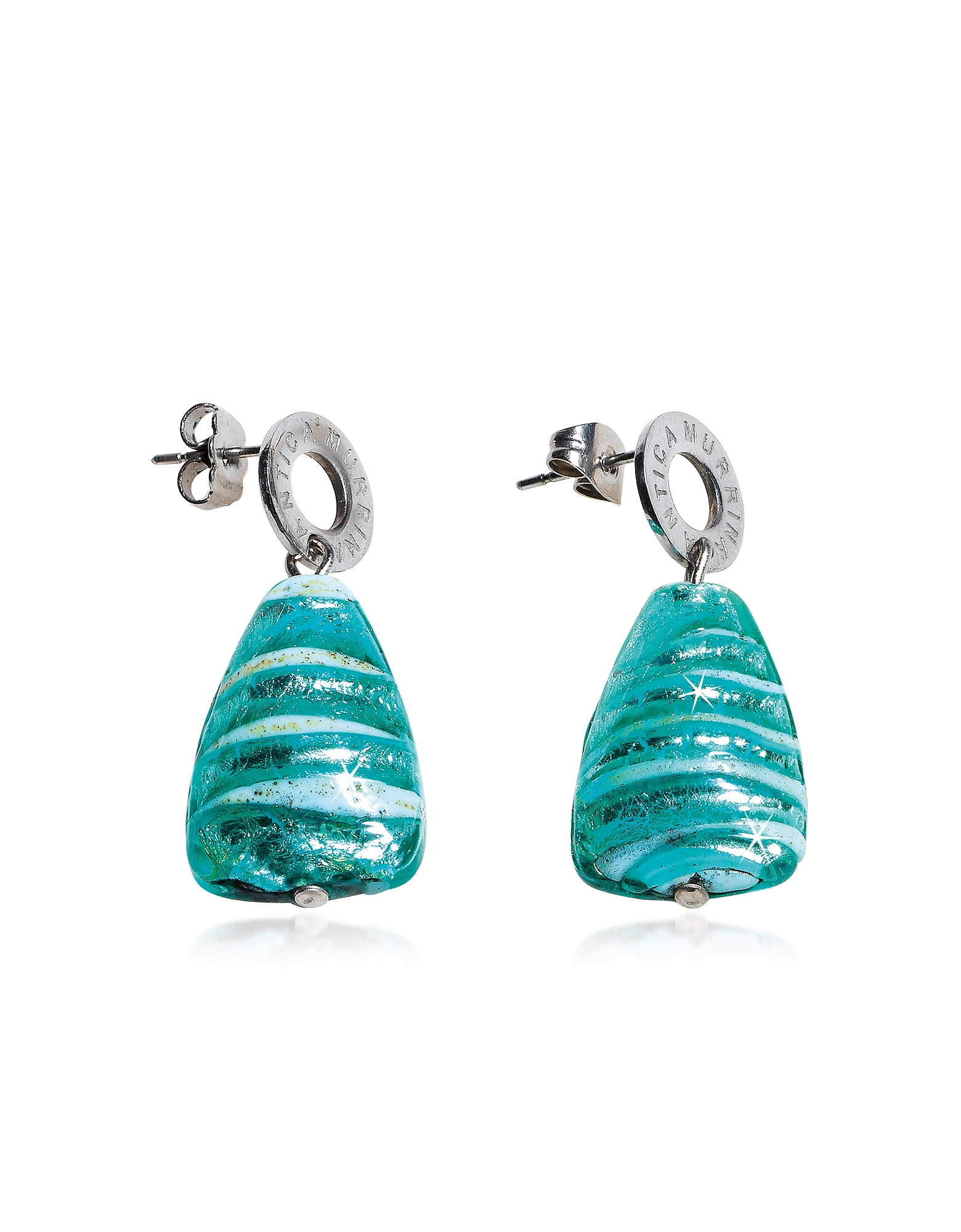 Marina 2 - Turquoise Green Murano Glass and Silver Leaf Drop Earrings от Forzieri.com INT