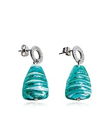 Marina 2 - Turquoise Green Murano Glass and Silver Leaf Drop Earrings - Antica Murrina
