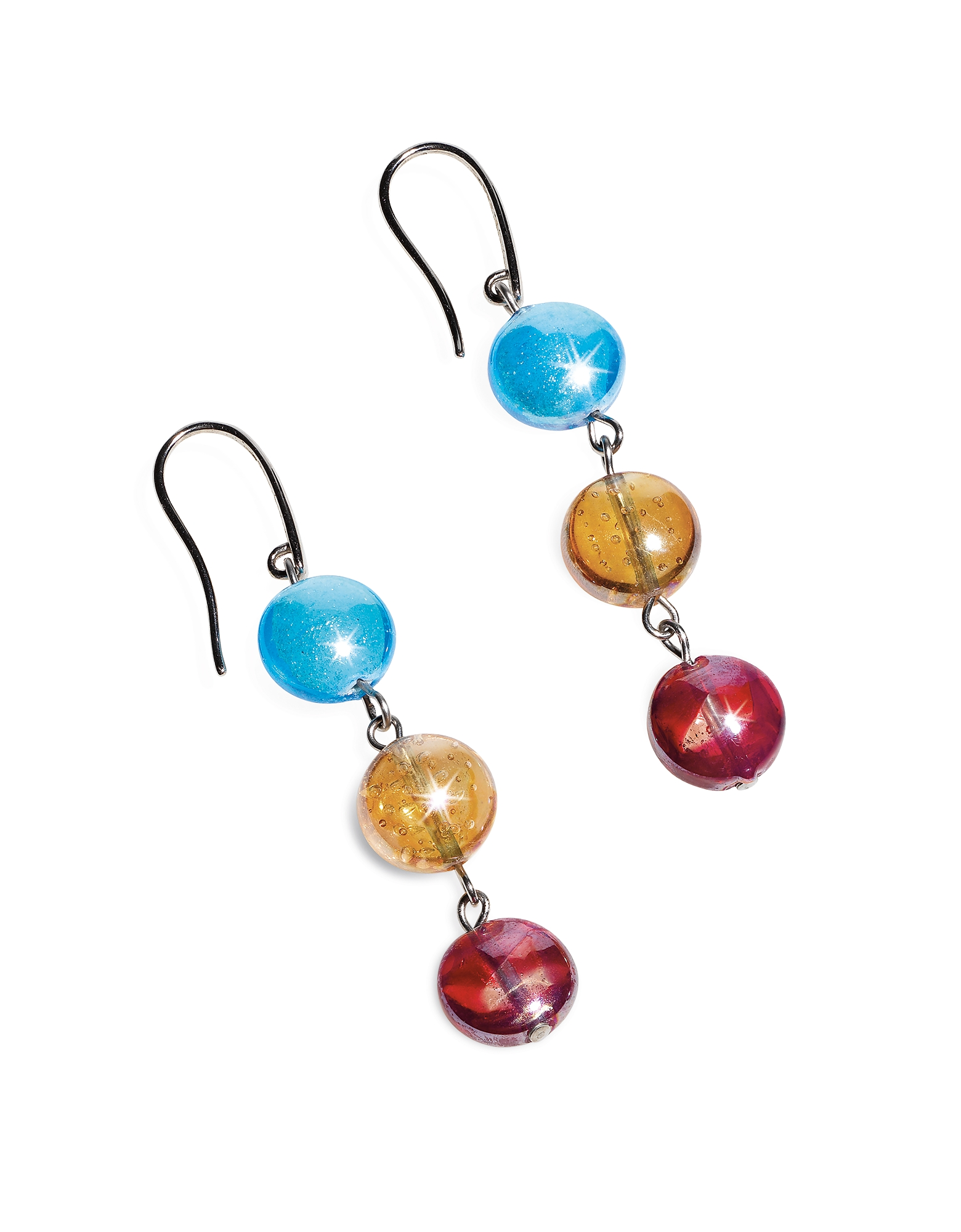 Redentore 1 - Multicolor Murano Glass & Silver Leaf Dangling Earrings от Forzieri.com INT
