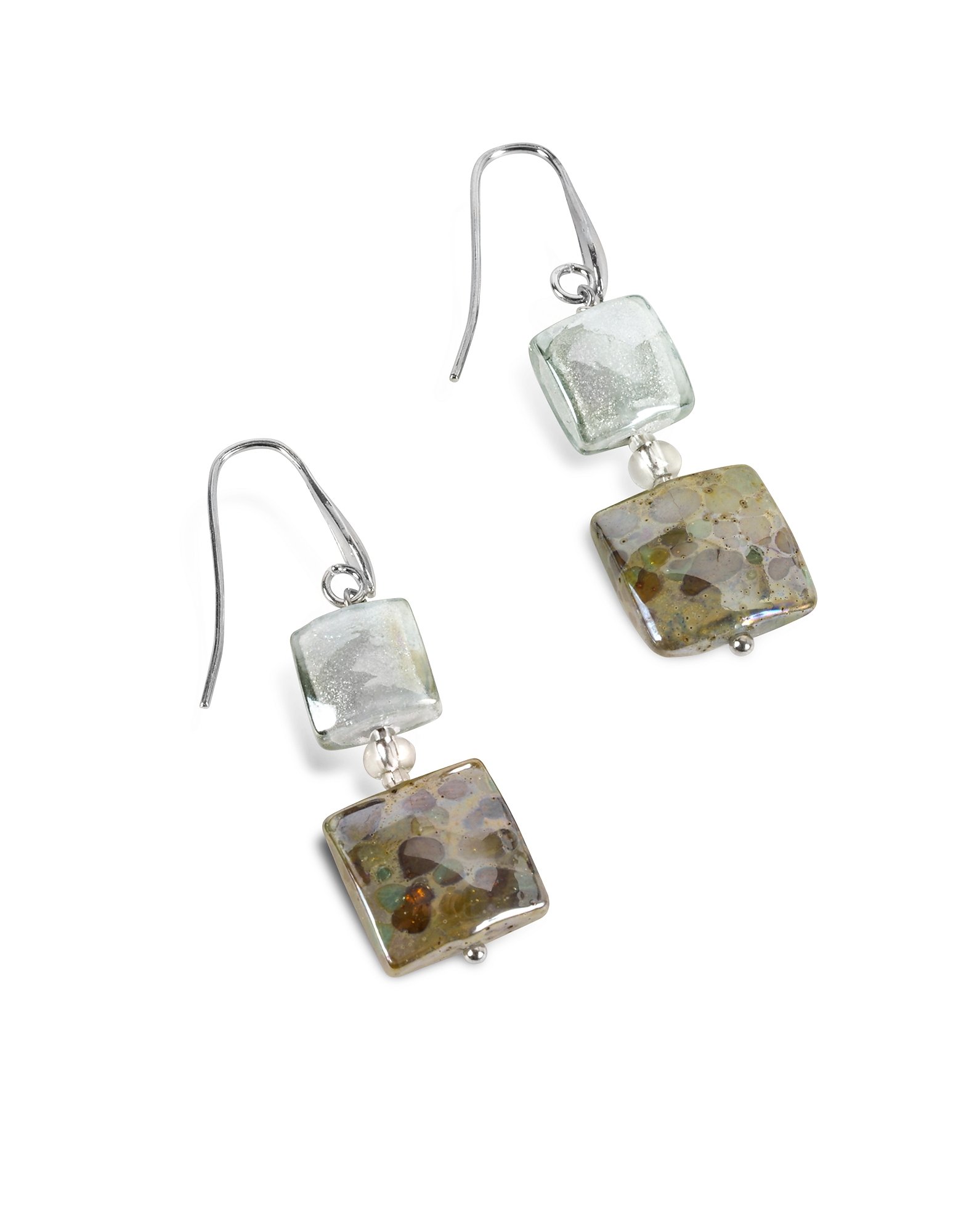 Atelier Byzantium - Grey Murano Glass & Silver Leaf Dangling Earrings от Forzieri.com INT