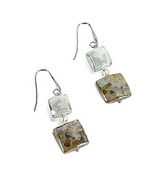 Atelier Byzantium - Grey Murano Glass & Silver Leaf Dangling Earrings - Antica Murrina
