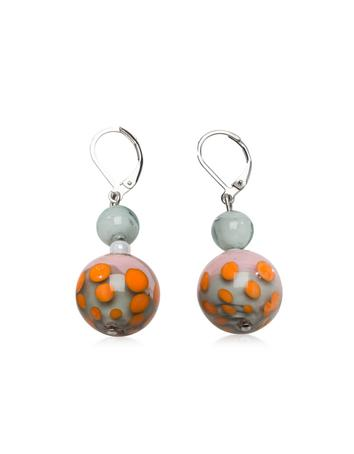 Papaya 1 Orange and Multicolor Murano Glass Earrings