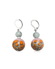 Papaya 1 Orange and Multicolor Murano Glass Earrings - Antica Murrina