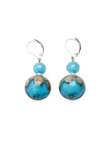 Papaya 1 Light Blue Murano Glass Earrings