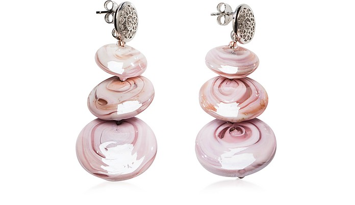 Monete 1 Pastel & Transparent Light Pink Murano Glass Earrings - Antica Murrina