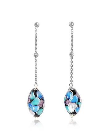 Smeralda Glass Beads Sterling Silver Earrings