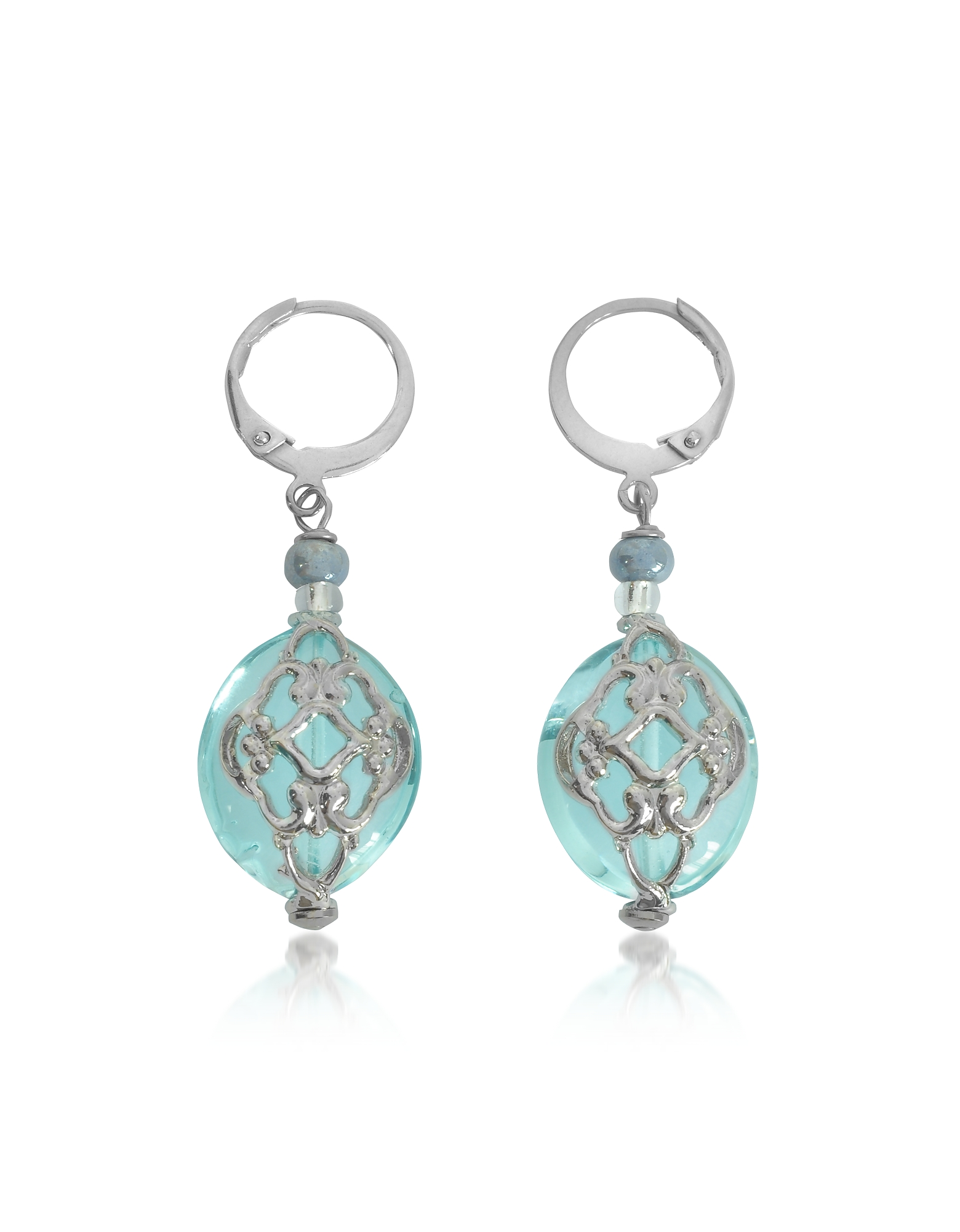 Antica Murrina Earrings, Florinda Light Blue Murano Glass Earrings