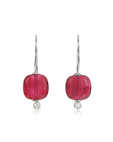 Florinda Ruby Murano Glass Sterling Silver Earrings - Antica Murrina