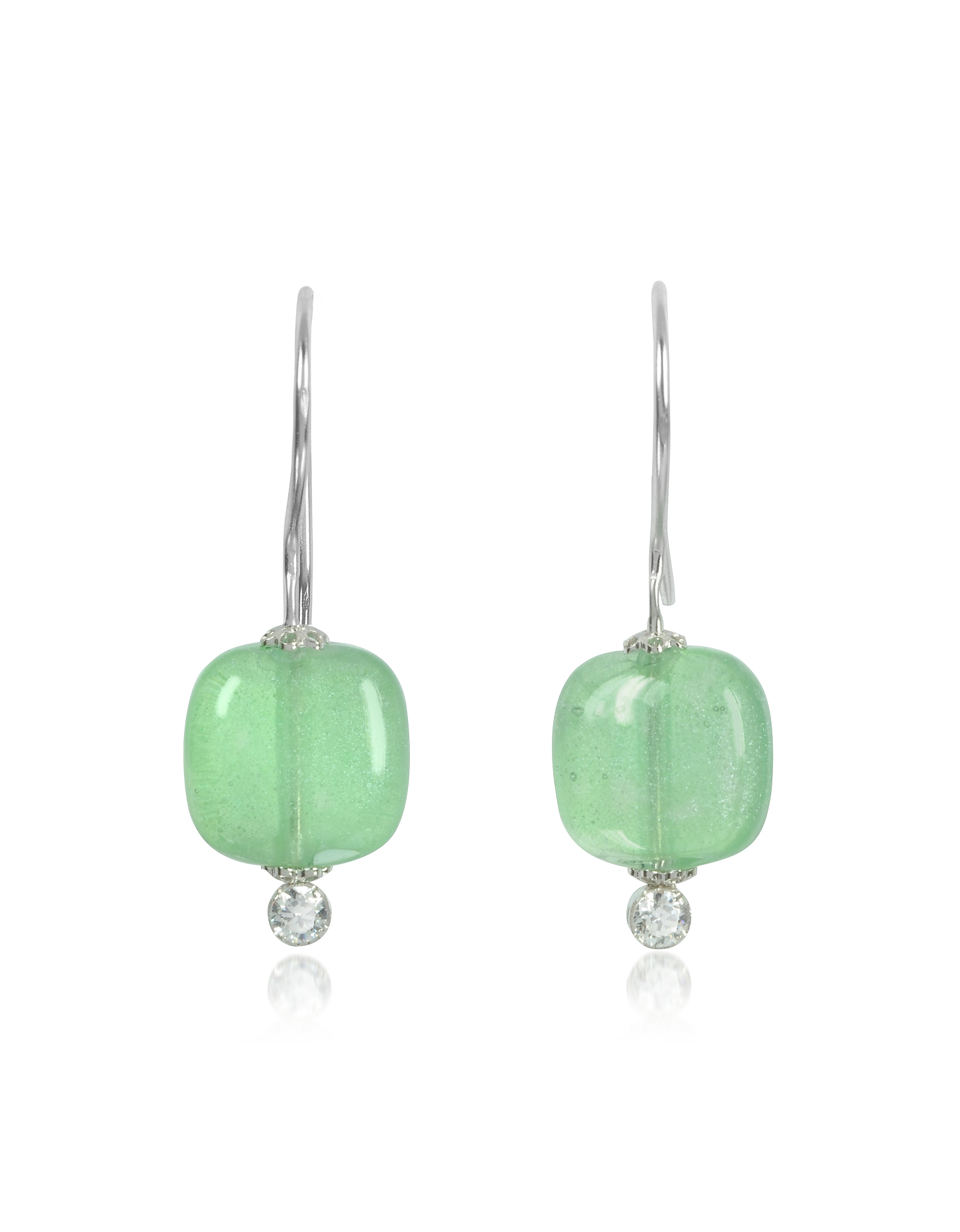 Antica Murrina Earrings, Florinda Green Murano Glass Sterling Silver Earrings
