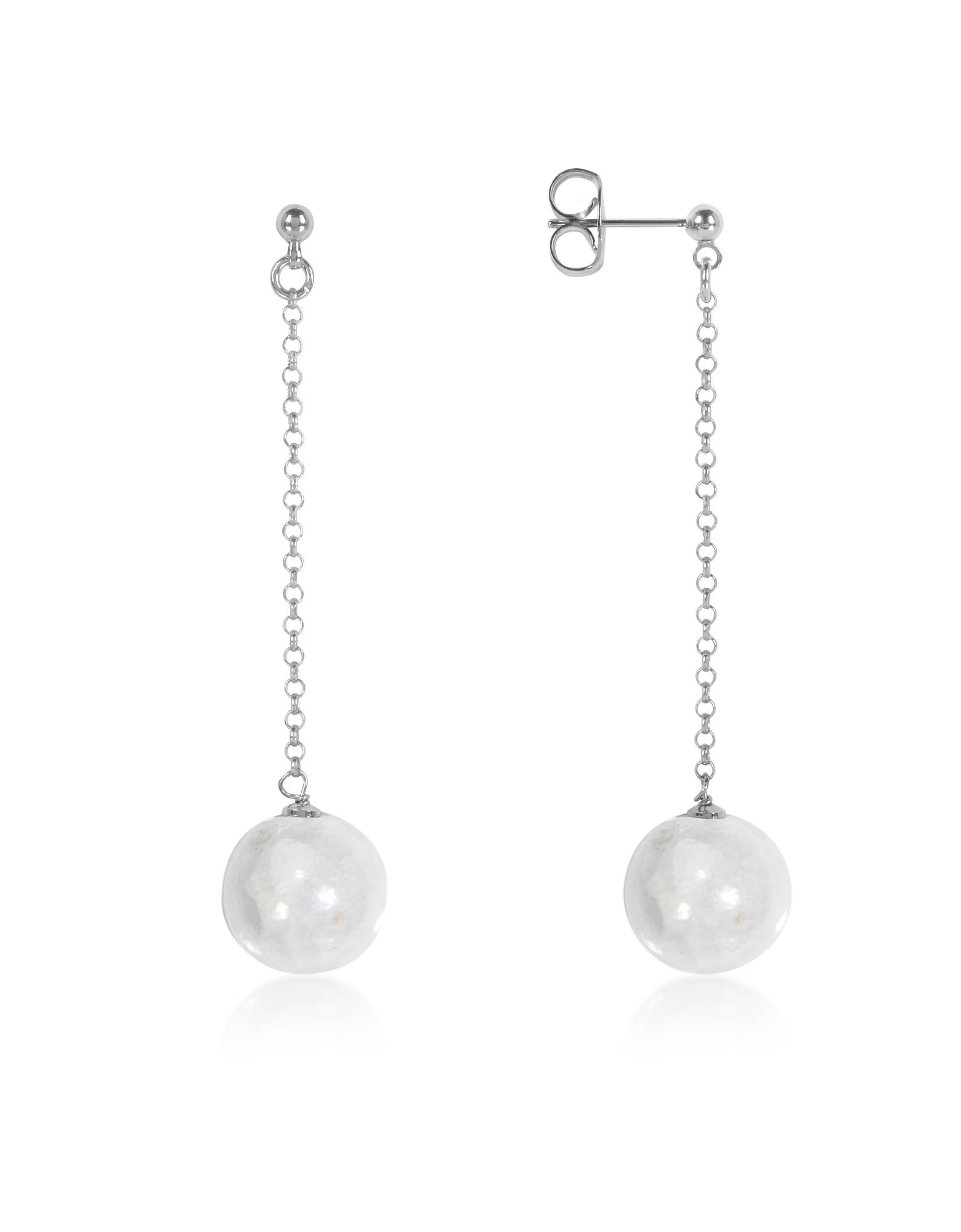 Antica Murrina Earrings, Perleadi White Murano Glass Bead Earrings