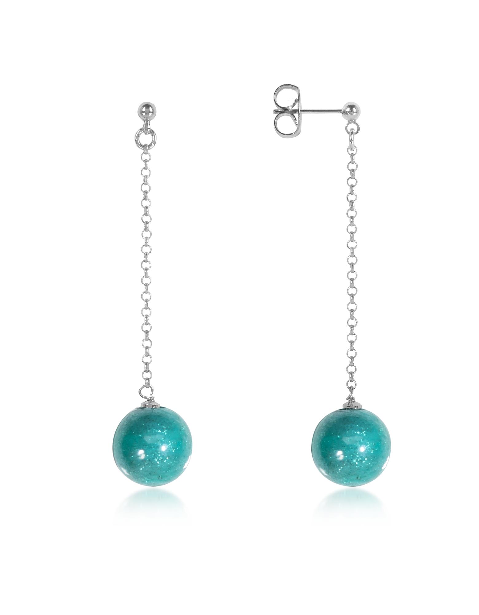 Antica Murrina Earrings, Perleadi Turquoise Murano Glass Bead Earrings