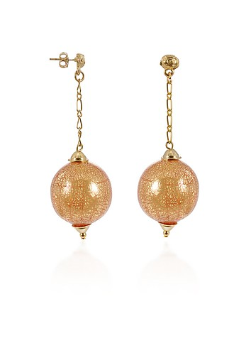 Antica Murrina Veneziana Dream - Murano Glass Ball Gold Plated Drop Earrings :  murano gold plated earrings italian jewelry