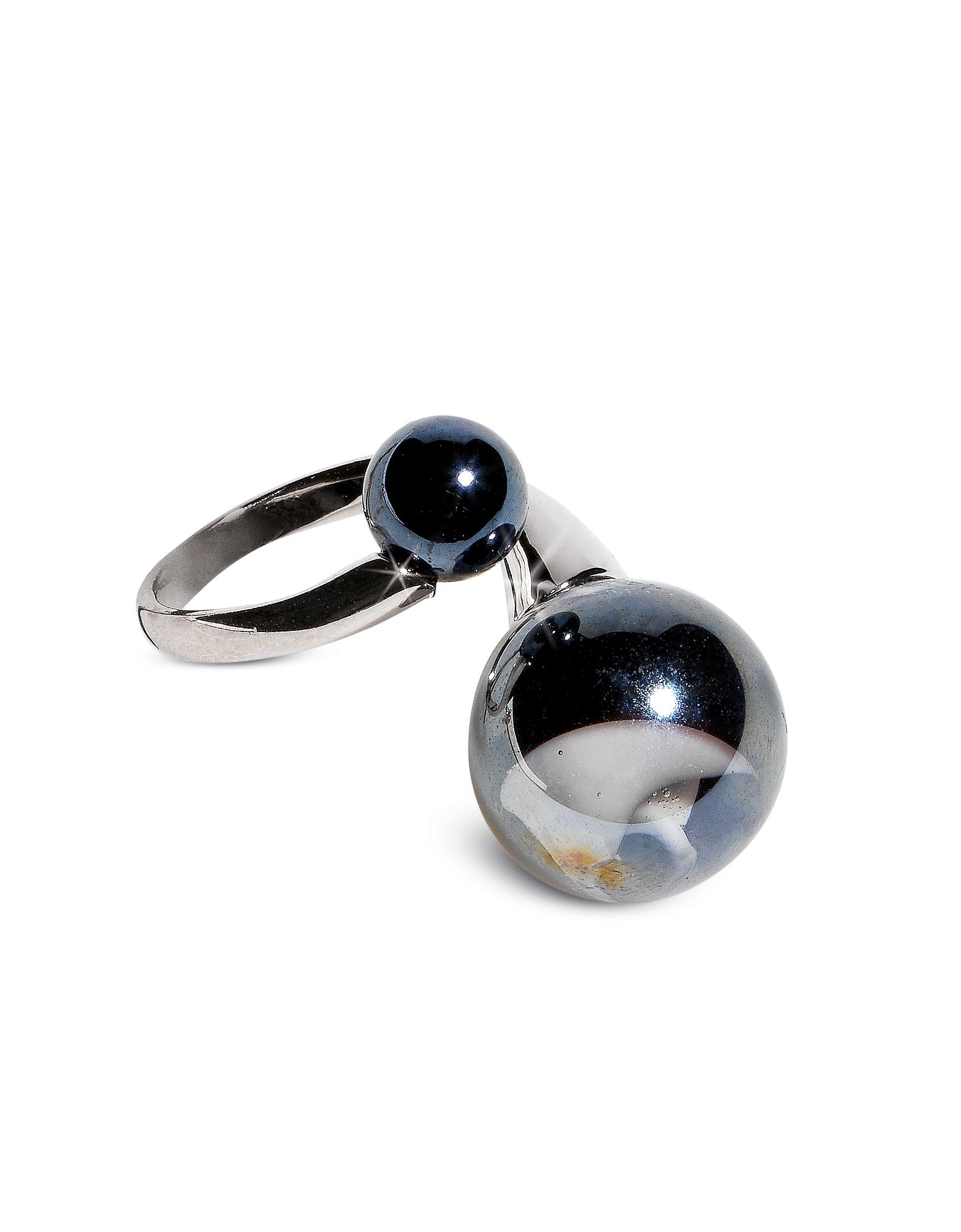 Optical - Серебристое Кольцо из Нержавеющей Стали с Черными Бусинками из Стекла Мурано
