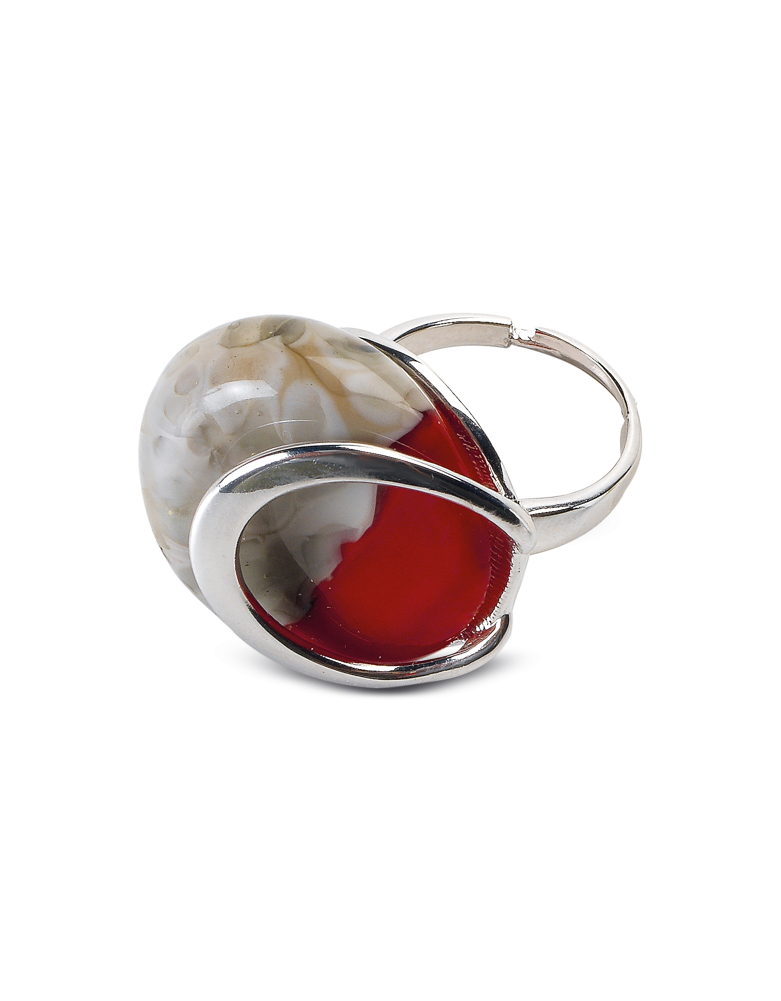 Antica Murrina Rings, Oriental - Red Murano Glass Ring w/Crackling Effect