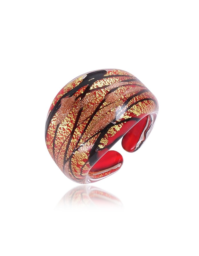 Laguna - Red, Gold & Black Murano Glass Ring - Antica Murrina