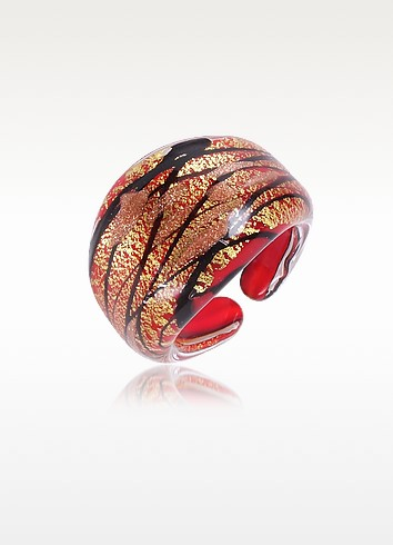 Laguna - Red, Gold & Black Murano Glass Ring - Antica Murrina