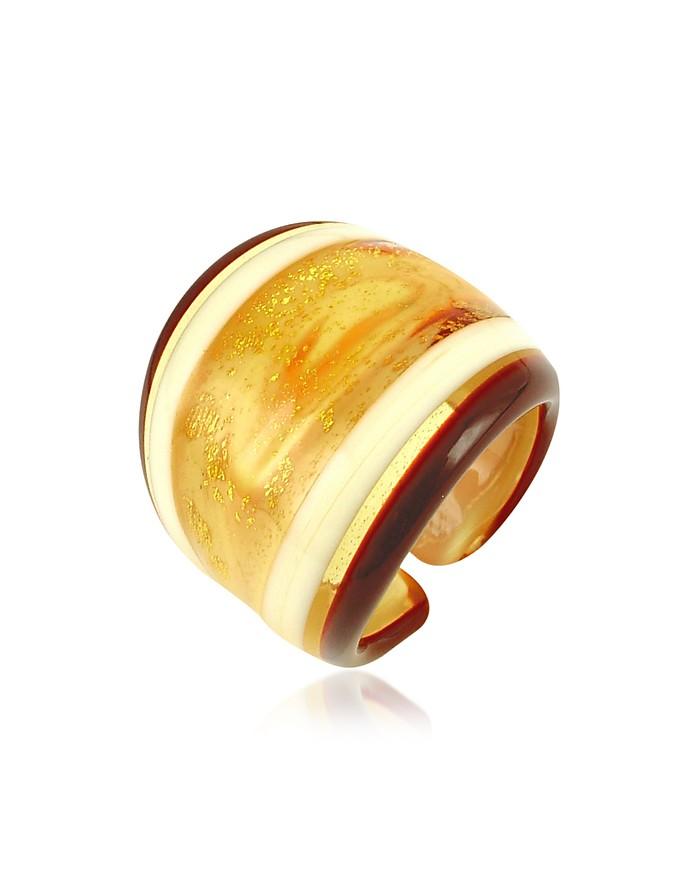 Cuba - Amber and White Murano Glass Fashion Ring - Antica Murrina