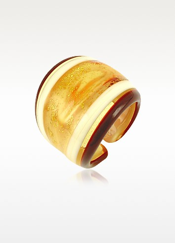 Cuba - Amber and White Murano Glass Fashion Ring - Antica Murrina