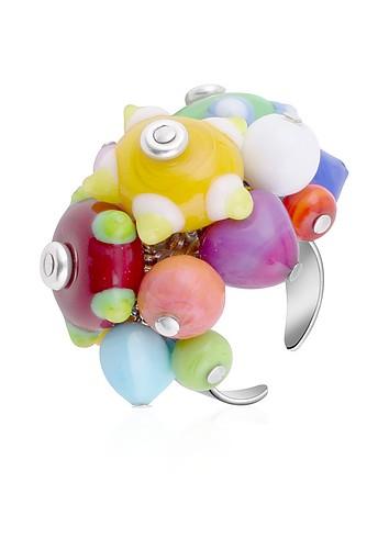 Antica Murrina Veneziana Ipanema - Multicolor Murano Glass Bead Open Ring