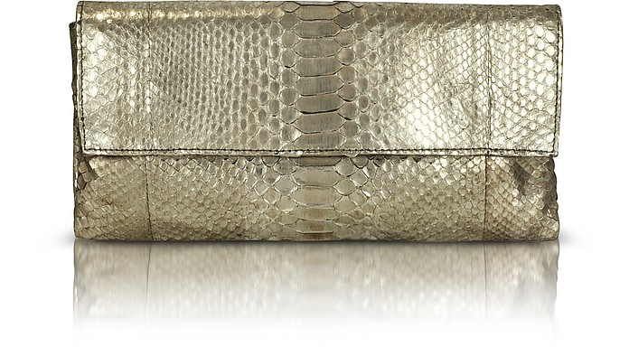 Gala Metallic Python Leather Cluch - Abaco