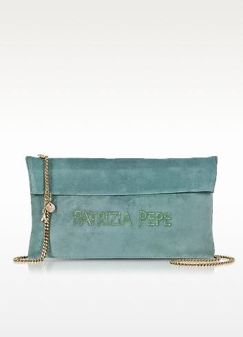 Signature Clutch in Suede Leather w/Chain Shoulder Strap - Patrizia Pepe