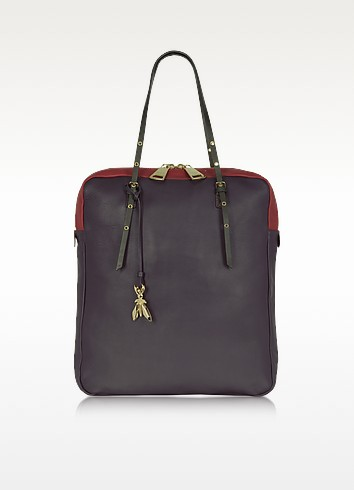 Multicolor Purple Leather North/South Tote - Patrizia Pepe