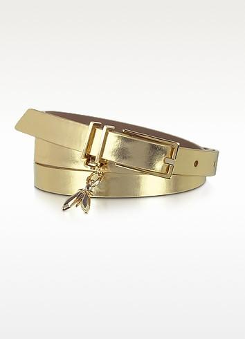 Pepe Fly - Gold Nappa Leather Skinny Belt - Patrizia Pepe