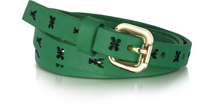 Pepe Fly Laser Emerald Green Leather Belt - Patrizia Pepe