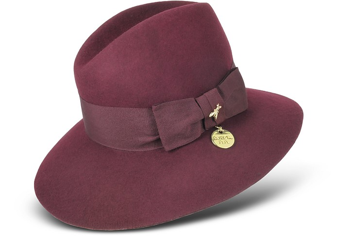 Dark Purple Wool Fedora Hat - Patrizia Pepe