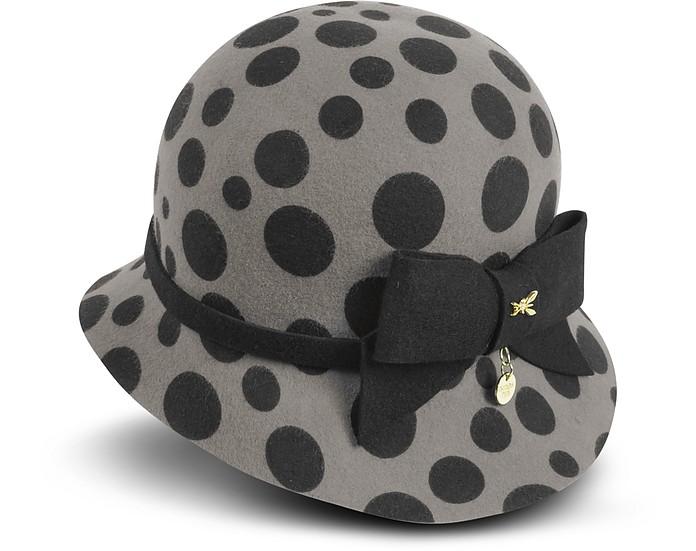 Gray and Black Large Dots Wool Felt Hat - Patrizia Pepe