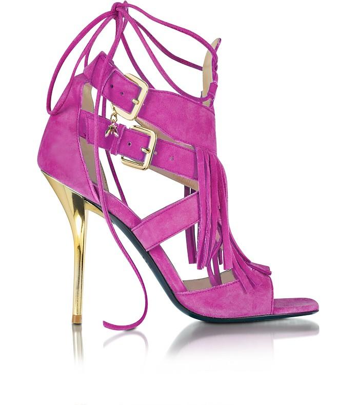 Peony Pink Suede and Leather Fringe High Heel Sandal  - Patrizia Pepe