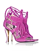 Peony Pink Suede and Leather Fringe High Heel Sandal  - Patrizia Pepe