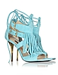 Wave Green Suede and Leather Fringe High Heel Sandal  - Patrizia Pepe
