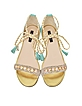 Wave Green Flat Suede Sandal with Colored Gemstones - Patrizia Pepe